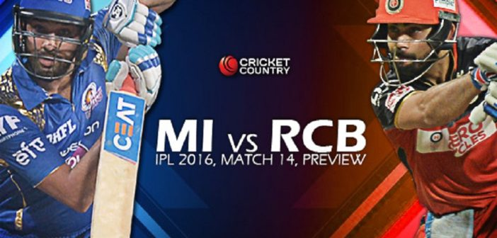 Match 14: Mumbai Indians vs Royal Challengers Bangalore: Cricket betting preview